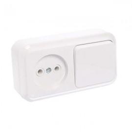 Выключатель 1-клавишный + розетка открытой установки