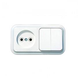 Выключатель 2-клавишный + розетка открытой установки