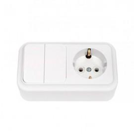 Выключатель 2-клавишный + розетка с заземляющим контактом открытой установки