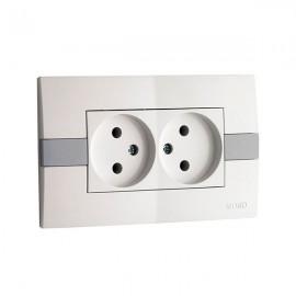 Розетка 2-ая без заземления 10А Mono Electric ЕСО белая с вставкой 101-01-121