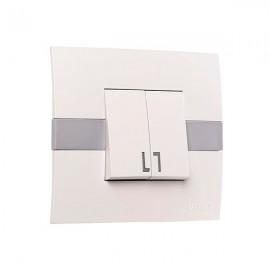 Выключатель 2-клавишный Mono Electric ECO белый с вставкой 101-01-102