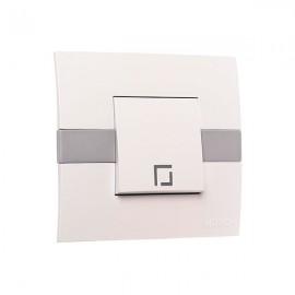 Выключатель 1-клавишный Mono Electric ECO белый с вставкой 101-01-100