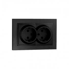 Розетка 2-ая без заземления Mono Electric DESPINA графит 102-20-121