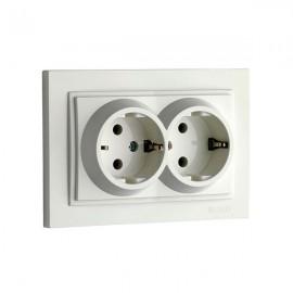 Розетка 2-ая с заземлением Mono Electric DESPINA белая 102-19-120