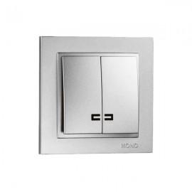 Выключатель 2-клавишный с подсветкой Mono Electric DESPINA серебро 102-21-103