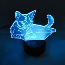 Светильник-ночник 3D Кот 2-2,5w USB+3AA Powerlight