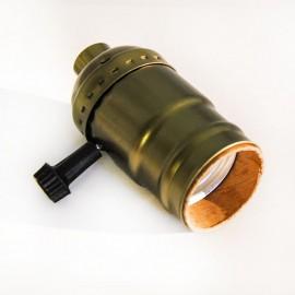 Патрон декоративный Е27 с выключателем бронза Powerlight