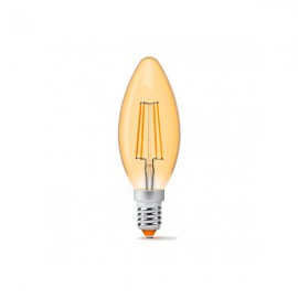Лампа светодиодная VIDEX Filament C37FA 4W E14 2200K 220V бронза